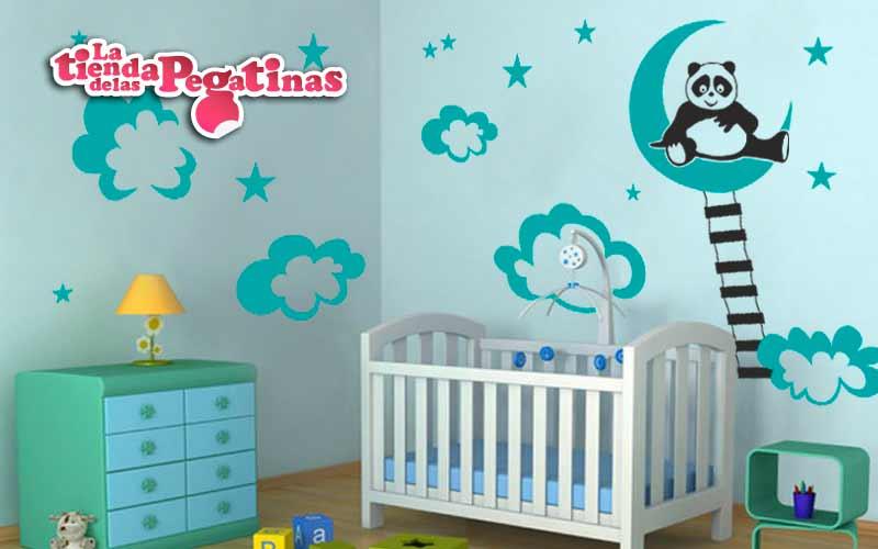 Consejos para decorar con nubes y lunas habitaciones de bebe for Vinilos cuartos bebe