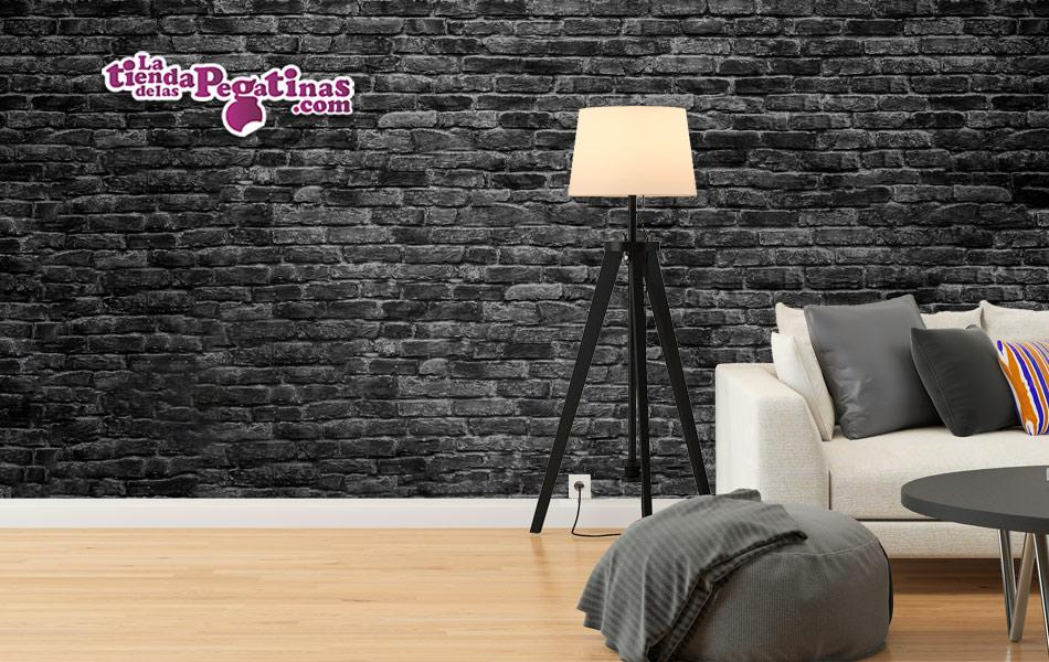 Fotomural Textura de Ladrillos Desgastados Negros