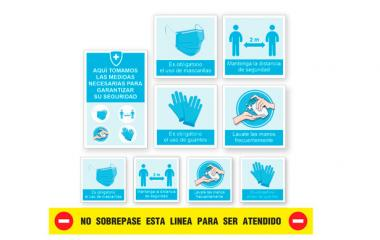 Vinilo - Kit 9 Pegatinas Medidas de Seguridad Empresa