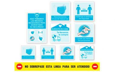 Vinilo - Kit 9 Pegatinas Medidas de Seguridad Tiendas