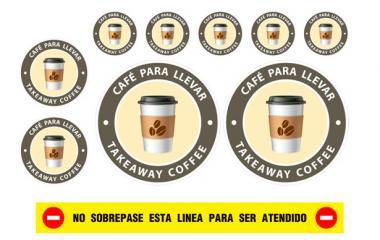 KIT 10 PEGATINAS CAFÉ PARA LLEVAR CIRCULARES