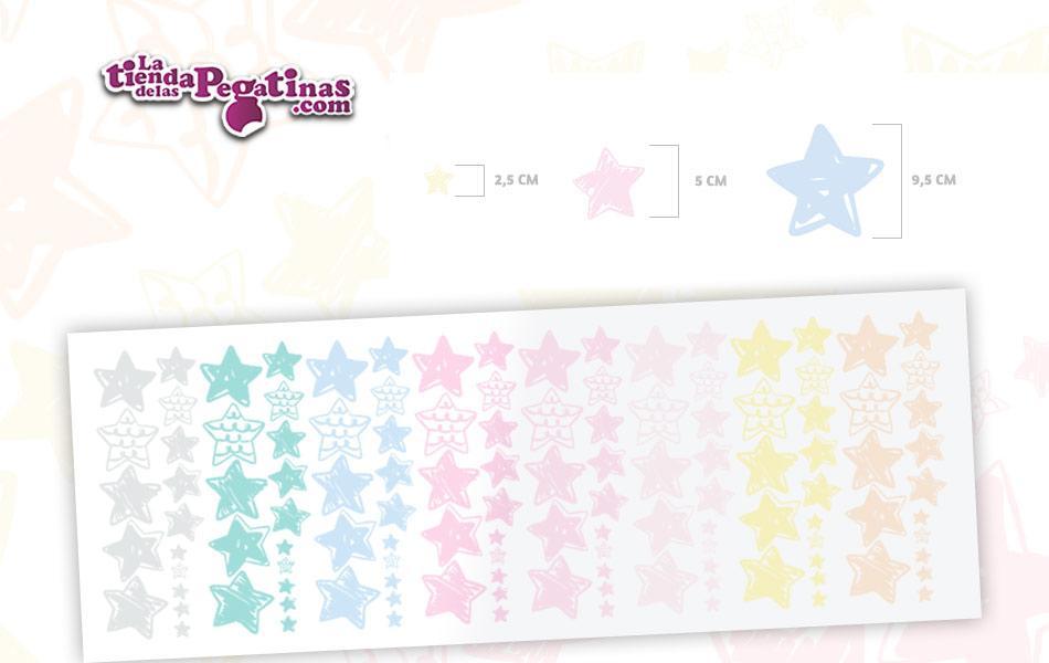 120 Hermosas estrellas de vinilo autoadhesivo en 3 tamaños (9,5 cm, 5 cm, 2,5 cm) en variados colores pasteles.