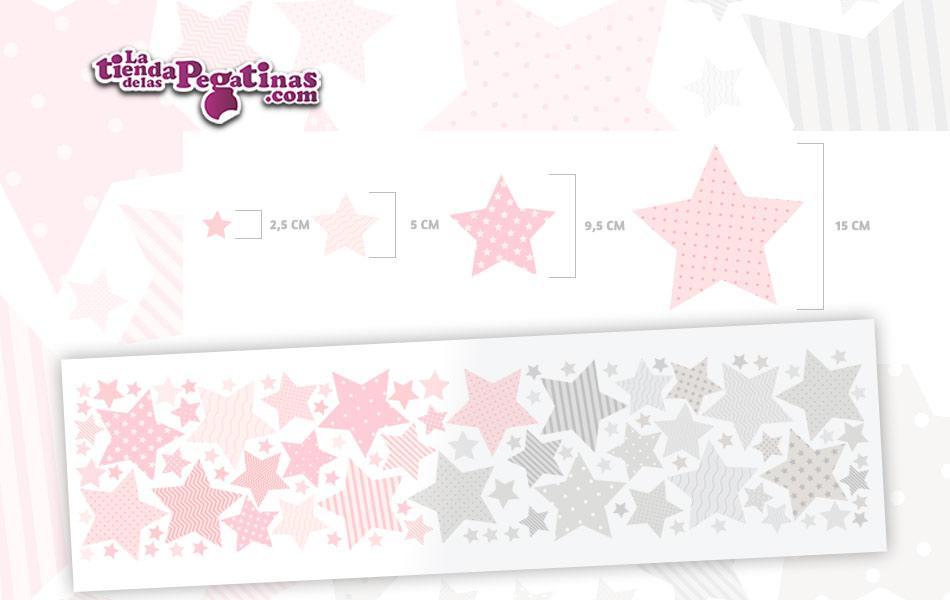 100 Hermosas estrellas en vinilo autoadhesivo en Colores rosa y grises