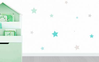 100 Hermosas estrellas en vinilo autoadhesivo en Colores verde y grises