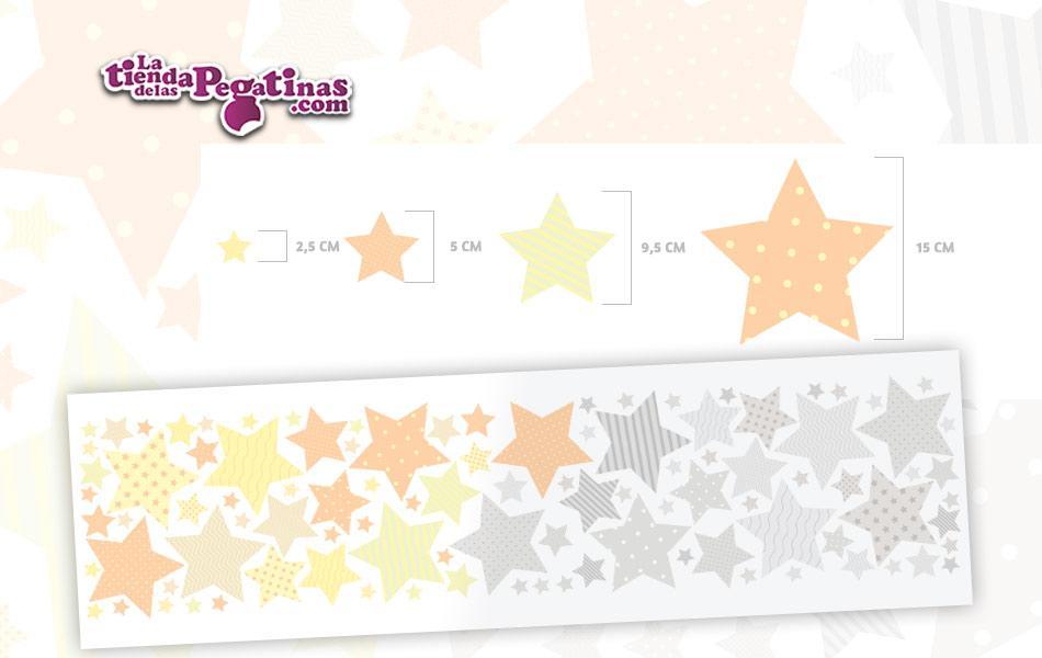 100 Hermosas estrellas en vinilo autoadhesivo en Colores amarillo y grises