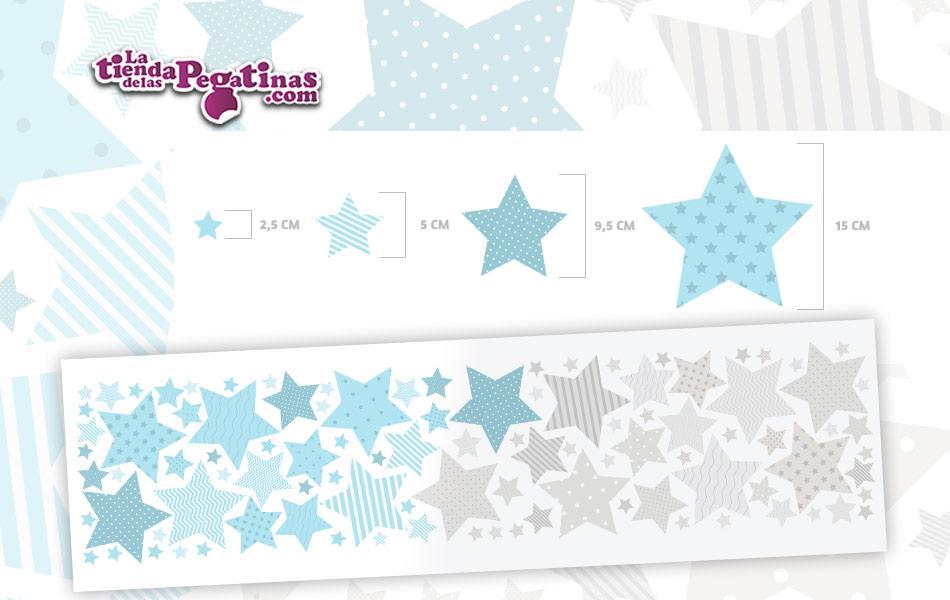 100 Hermosas estrellas en vinilo autoadhesivo en Colores azul y grises