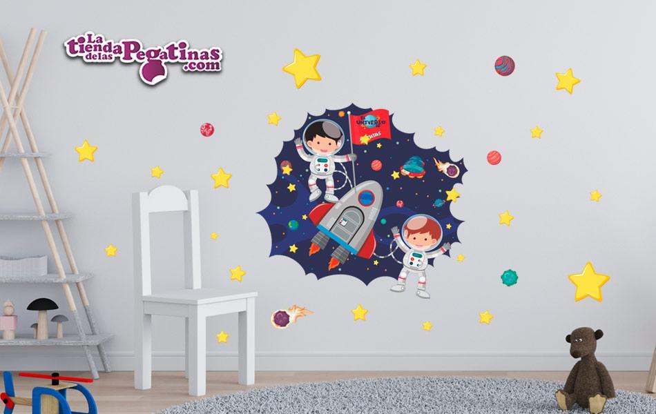 Vinilo decorativo estrellas, planetas y extraterrestres