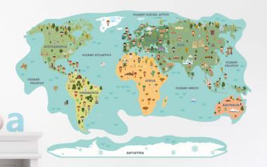 Vinilo infantil Mapamundi Ciudadanos y Monumentos