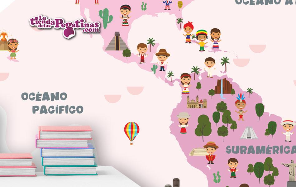 Vinilo infantil Mapamundi Ciudadanos y Monumentos - Tonos Rosas