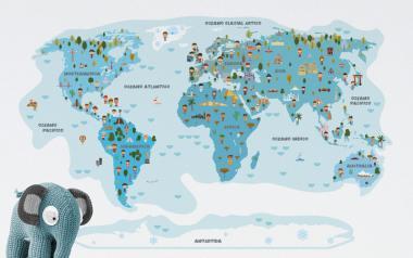 Vinilo infantil Mapamundi Ciudadanos y Monumentos - Tonos Azules