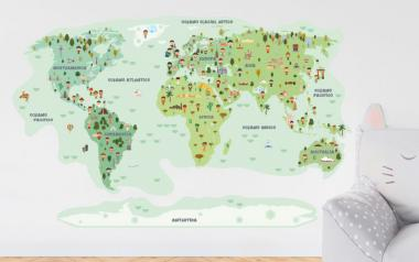 Vinilo infantil Mapamundi Ciudadanos y Monumentos - Tonos Verdes