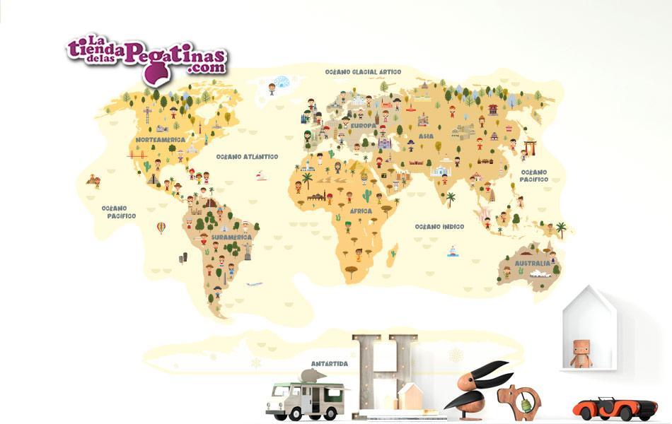 pegatina mapamundi niños