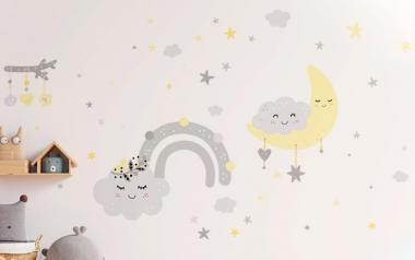 Vinilo Infantil Nubes Alegres