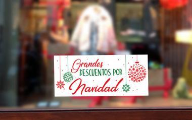 Cartel de Rebajas Grandes Descuentos de Navidad tiendas cristalera