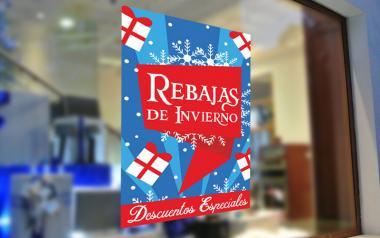 Cartel de Rebajas de Invierno en Papel tiendas escaparates