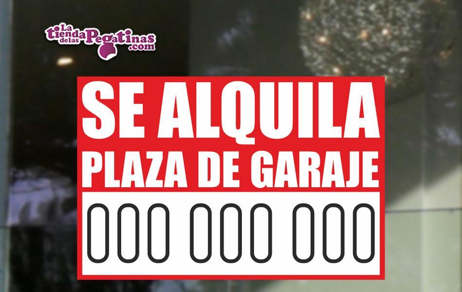 Cartel de Se Alquila Plaza de Garaje en Papel