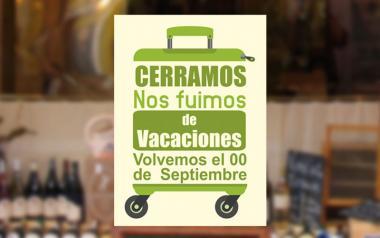 Cartel Cerramos por Vacaciones en Papel