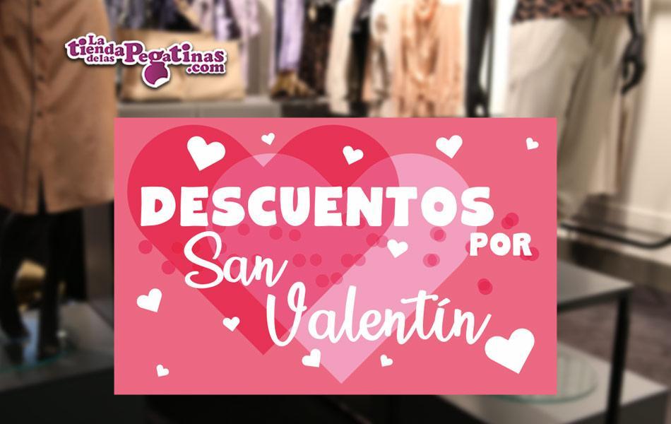 Cartel Descuentos por San Valentín en Papel