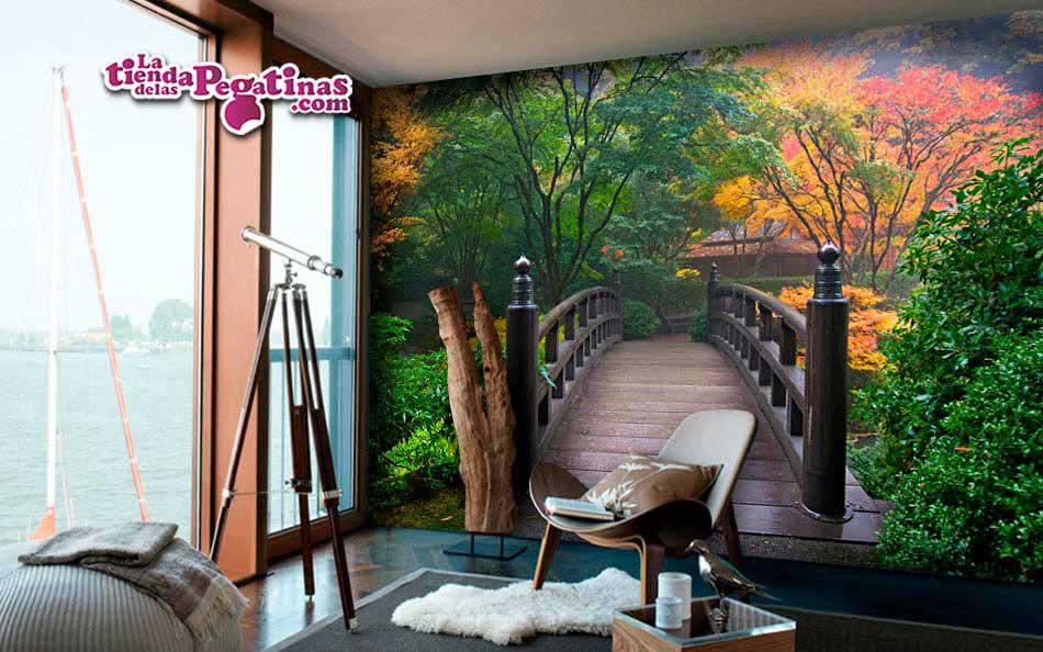 Fotomural Puente en jardín japonés