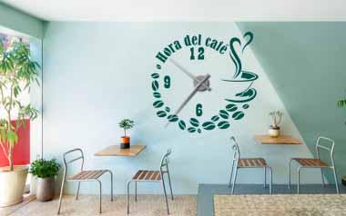 Vinilo - Reloj Hora del café -XL-
