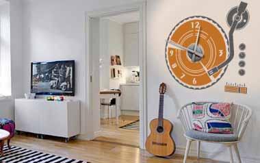 Vinilo decorativo - Reloj Tocadiscos -M-