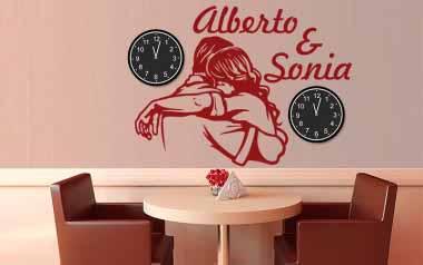 Vinilo decorativo Reloj Amor de pareja