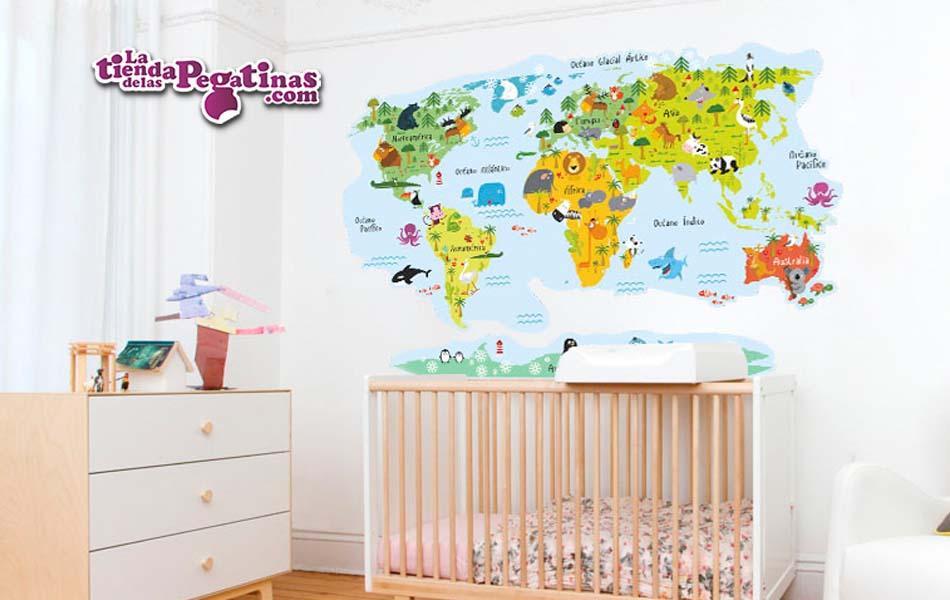 Vinilo infantil mapamundi animales la tienda de las for Adhesivos de pared infantiles