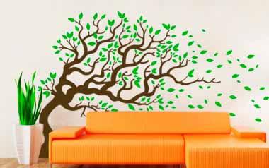 Vinilo decorativo - Árbol con viento 2