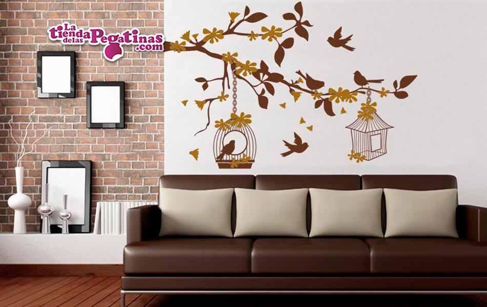 Vinilo decorativo rama con jaulas la tienda de las pegatinas for Vinilos pared aliexpress