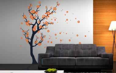 Vinilo decorativo - Árbol con viento 3