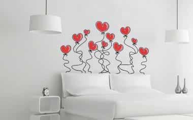 Vinilo - Cabecero globos de corazón