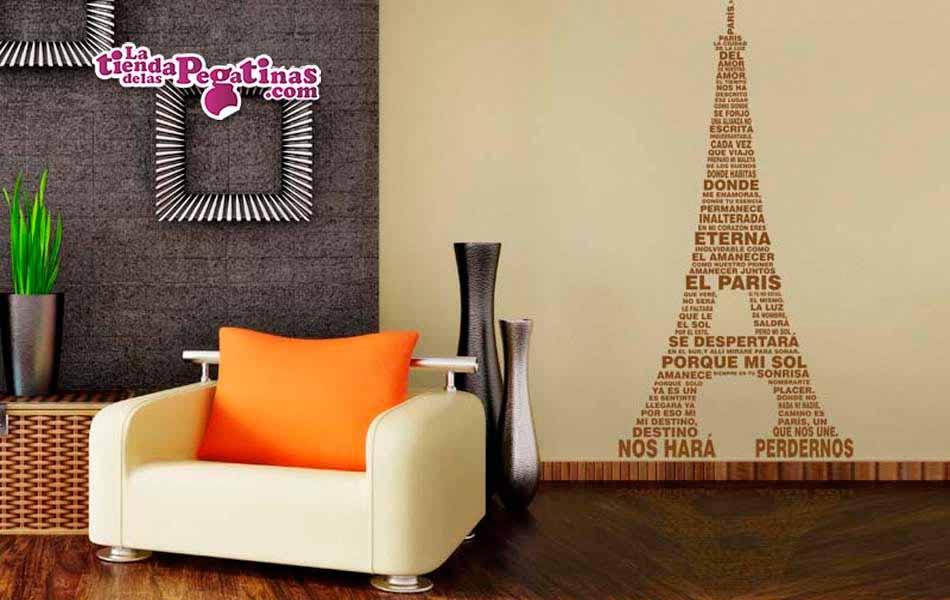 Vinilo decorativo torre eiffel de letras - Vinilos grandes para pared ...