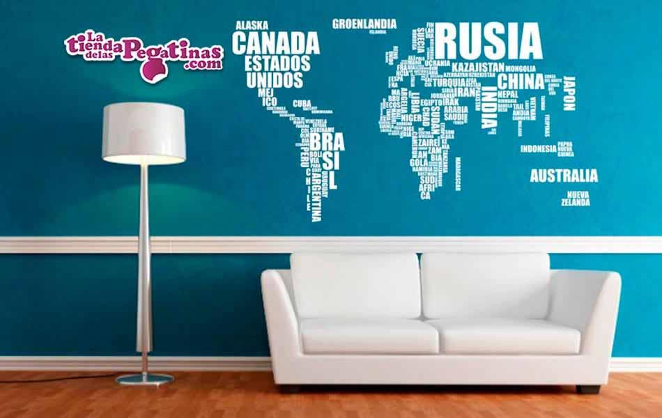 Vinilo mapamundi de letras escoge tama o y color for Vinilo mapa del mundo