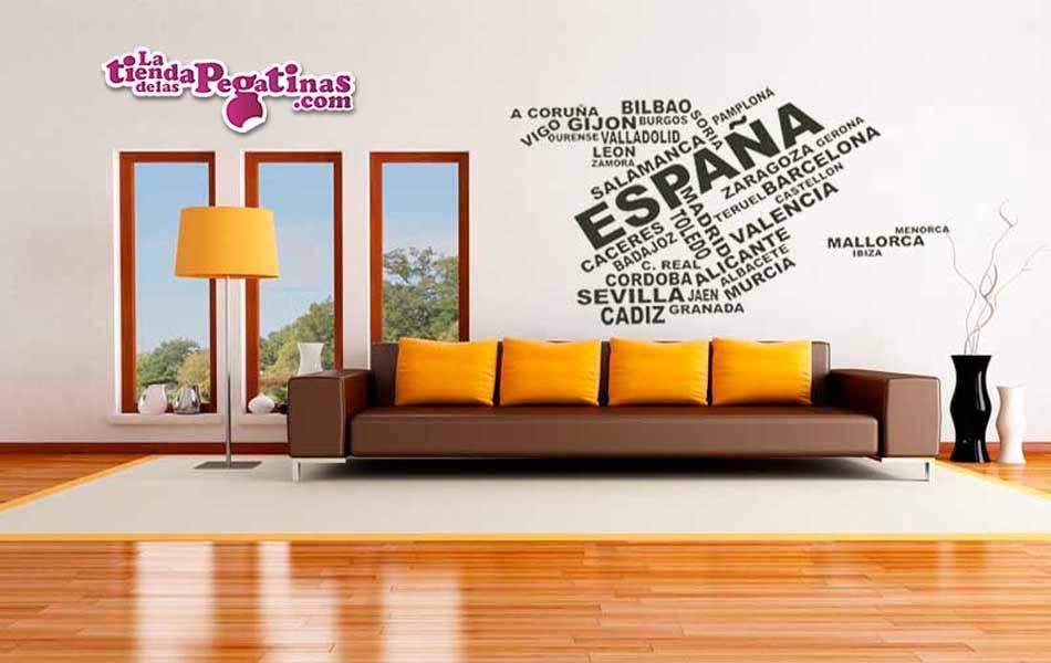Vinilo decorativo mapa espa a textos la tienda de las for Vinilos pared ciudades