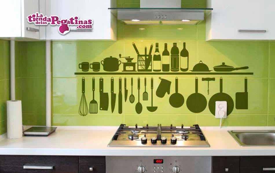 Vinilo decorativo estante de cocina la tienda de las pegatinas - Pegatinas para cocinas ...