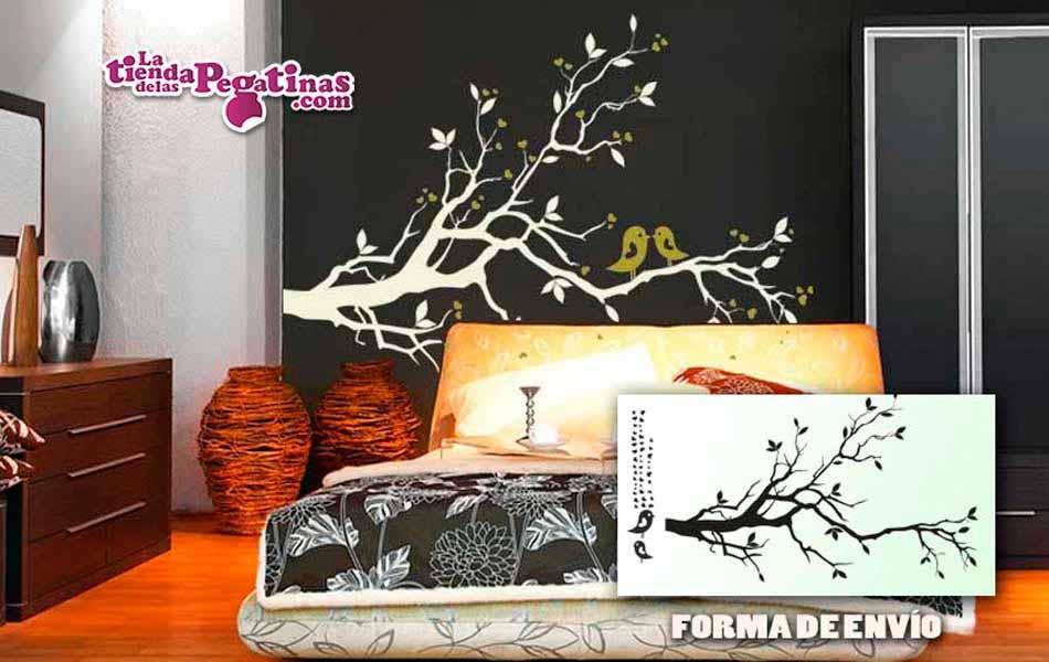 Vinilo decorativo - Pajaros en rama multicolor