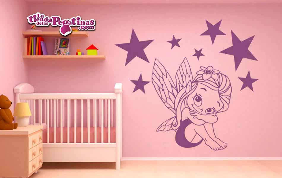 Hadas Vinilos Decorativos Infantiles.Vinilo Infantil Hada Con Estrellas La Tienda De Las Pegatinas