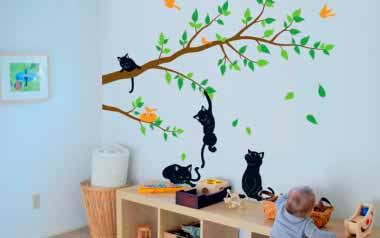 Vinilo infantil - Ramas con gatos