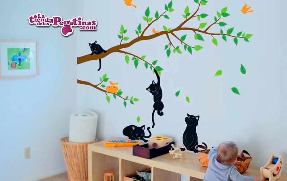 Vinilo infantil ramas con gatos la tienda de las pegatinas - Vinilos decorativos gatos ...