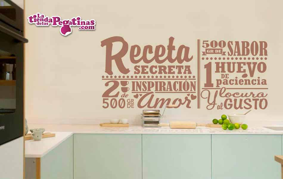 Vinilo decorativo la receta secreta la tienda de las for Pegatinas frases pared