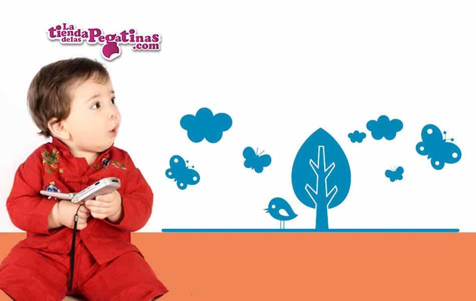 Vinilo infantil - Bosque de mariposas