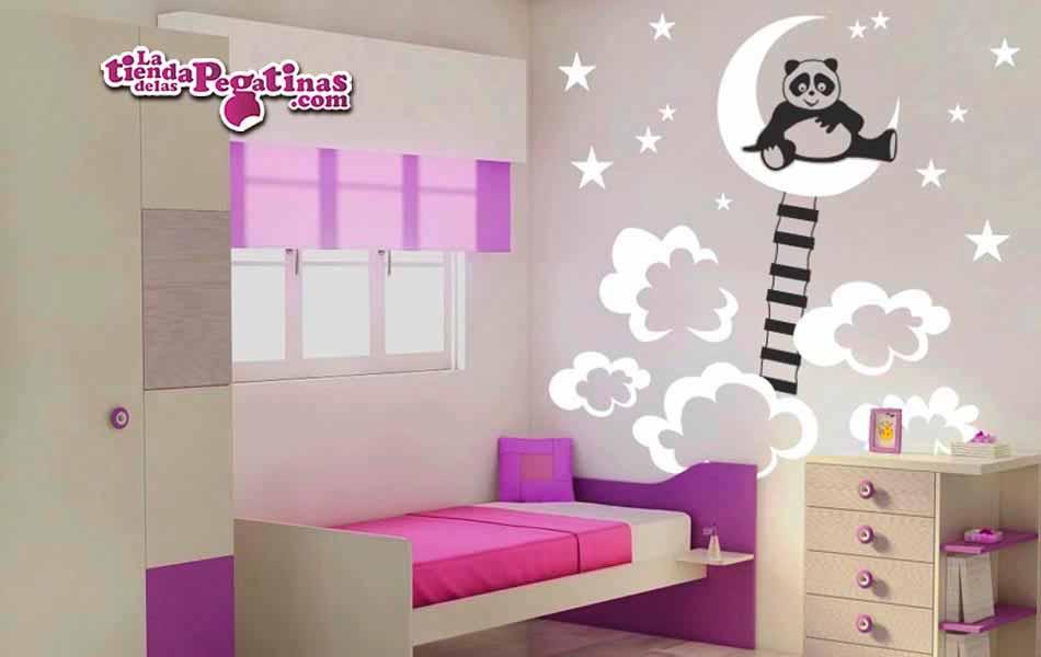 Vinilo infantil - Panda en la luna