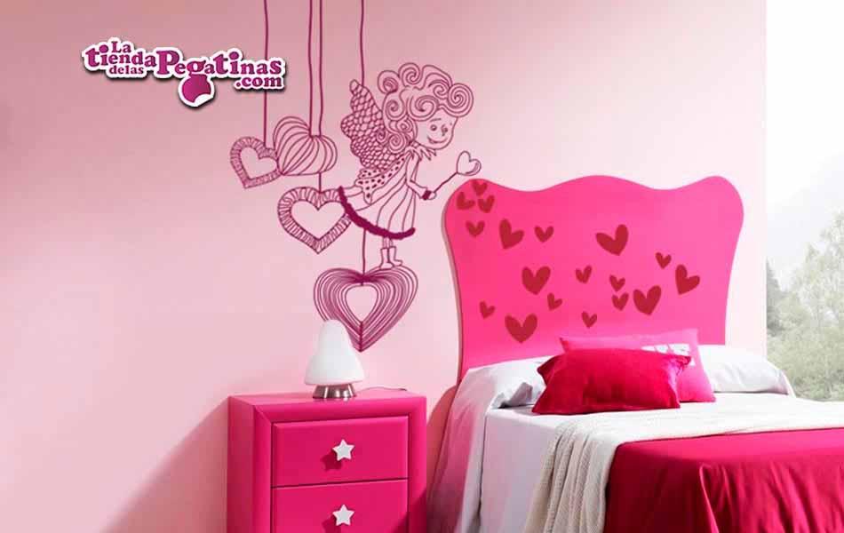 Vinilo infantil hada lanza corazones la tienda de las for Pegatinas para decorar habitaciones infantiles