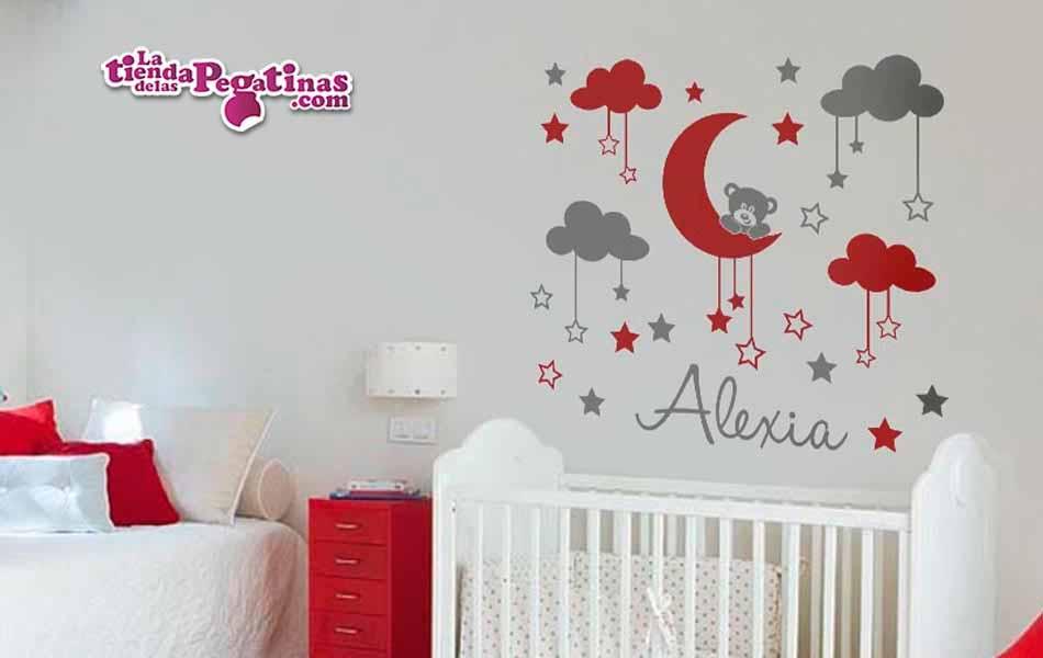 Vinilo infantil osito en la luna la tienda de las pegatinas for Pegatinas para habitacion de bebe