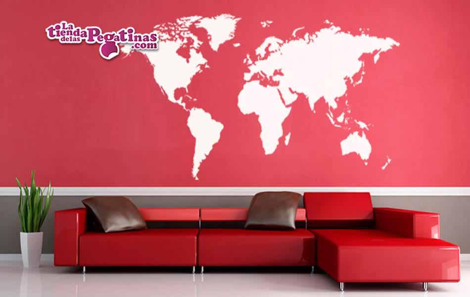 Vinilo decorativo mapamundi en el color que elijas for Mapamundi vinilo pared