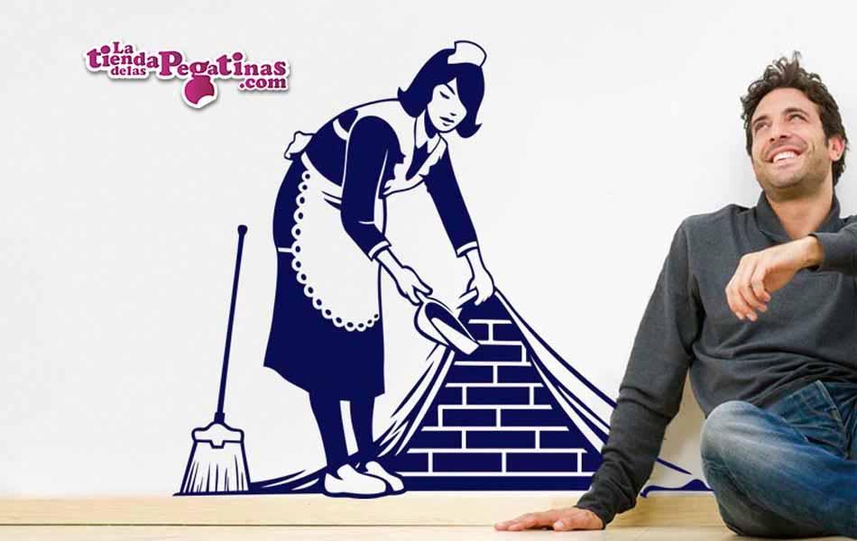 Pegatina doncella doncella que barre tras el muro