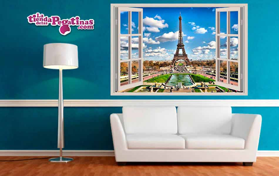 Ventana 3d a la torre eiffel de par s for Vinilos decorativos pared 3d