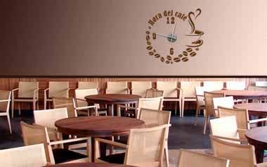 Vinilo decorativo - Reloj Hora del café -M-