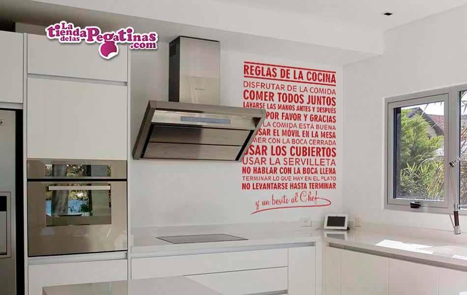 Vinilo decorativo reglas de la cocina la tienda de las - Vinilo pizarra cocina ...