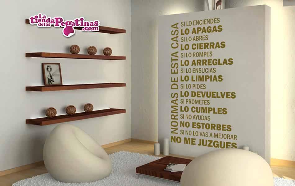 Vinilo decorativo normas de esta casa la tienda de las for Tu vinilo decorativo